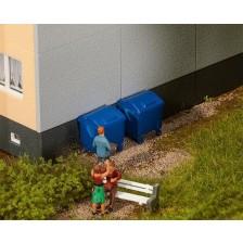 Faller 180914 - 2 Blauwe afvalbakken