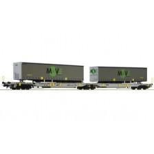 Roco 67404 - AAE Doppeltaschen-Gelenkwagen Bauart Sdggmrs/T2000 mit Aufliegern MOVE