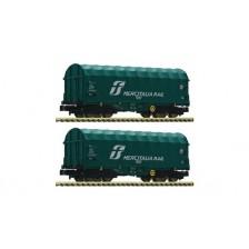 """Fleischmann 837928 - FS 2-tlg. Set: Schiebeplanenwagen Bauart Shimmns """"Mercitalia Rail"""""""