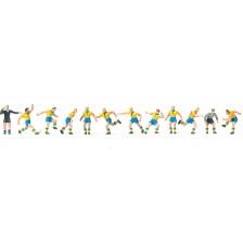 Preiser 10755 - Fußballmannschaft mit gelben Trikots und blauen Hosen