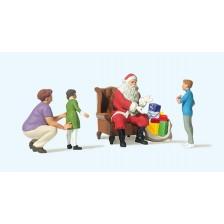 Preiser 10763 - Weihnachtsmann im Sessel. Mutter mit Kindern