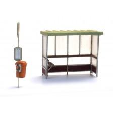 Artitec 10.378 - Abri beton voor bus en trein bouwpakket (3x)