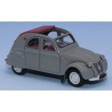 SAI 6012 - Citroën 2 CV AZLP 1958, grise, capote ouverte rouge grenat et sièges rouges
