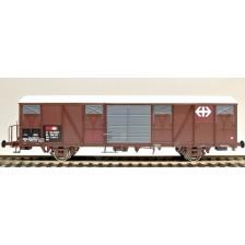 Exact-Train EX20436 - SBB Gbs Güterwagen EUROP mit Farbflächen, grossem und kleinem SBB Emblem, Polyestherdach und Türen mit Sicken  Epoche V