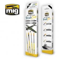 AMMO of Mig Jimenez MIG-7605 - Panel Lines & Fading Brush Set
