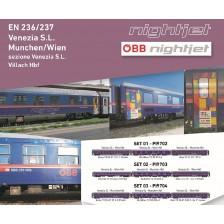 """Pi.R.A.T.A. 9703 - ÖBB 3-tlg NightJet EN236/237 Venedig-München/Wien """"Europride"""" Set 2"""