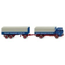 "Wiking 043203 - Pritschenhängerzug (MB) ""Transit Transport"""