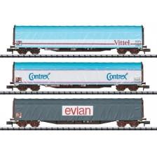 """Trix 15375 - SNCF Schiebeplanenwagen-Set """"Mineralwasser- transport"""""""