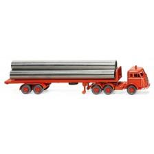 Wiking 0554 04 - Flachpritschensattelzug (Henschel) Typischer Stahlröhrentransport im Wirtschaftswunder